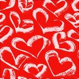 Modelo blanco inconsútil de los corazones en un fondo rojo ilustración del vector