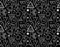 Modelo blanco negro geométrico decorativo inconsútil abstracto Fotografía de archivo libre de regalías