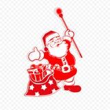 Modelo blanco rojo de la Navidad con Santa Claus con el personal y un bolso con los diversos regalos ilustración del vector