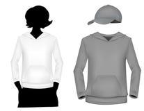 Modelo (blanco y gris) de la camiseta de la muchacha. Fotografía de archivo libre de regalías