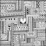 Modelo blanco y negro étnico ornamental con el corazón Fondo tribal Fotos de archivo
