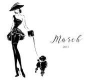 Modelo blanco y negro de la mujer de la moda con el fondo del logotipo del boutique Fotos de archivo libres de regalías