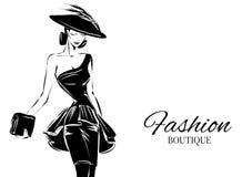 Modelo blanco y negro de la mujer de la moda con el fondo del logotipo del boutique Mano drenada Fotos de archivo libres de regalías
