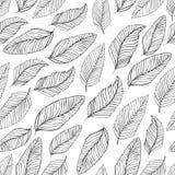 Modelo blanco y negro de las hojas inconsútil ilustración del vector