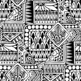 Modelo blanco y negro del fondo del garabato retro floral étnico asiático inconsútil en vector libre illustration