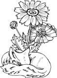 Modelo blanco y negro del zorro Ejemplo de un zorro cósmico con las flores stock de ilustración