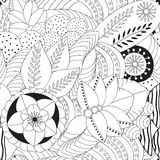 Modelo blanco y negro floral del garabato inconsútil común Ori Imagen de archivo