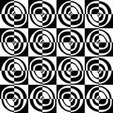 Modelo blanco y negro inconsútil con los círculos abstractos Imagenes de archivo
