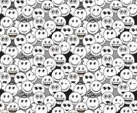 Modelo blanco y negro inconsútil del garabato con expresiones positivas del emoticon de la diversión Libre Illustration