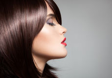 Modelo bonito com cabelo marrom lustroso longo perfeito fotografia de stock