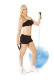 Modelo bonito com corda do estiramento Fotografia de Stock Royalty Free