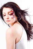 Modelo bonito com face-arte imagens de stock royalty free