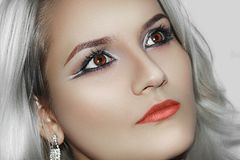 Modelo bonito Cute Make de Brunnete da mulher das mulheres da menina acima fotos de stock royalty free