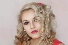Modelo bonito Cute Make de Brunnete da mulher das mulheres da menina acima foto de stock