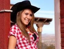 Modelo bonito da vaqueira Fotografia de Stock