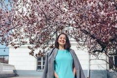 Modelo bonito no vestido azul e no revestimento cinzento pela árvore de florescência da mola imagens de stock royalty free