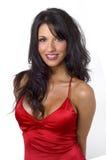 Modelo bonito que desgasta o vestido vermelho foto de stock royalty free