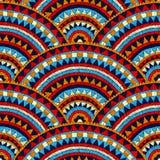 Modelo bordado ondulado inconsútil handmade Azul, rojo, blanco Foto de archivo