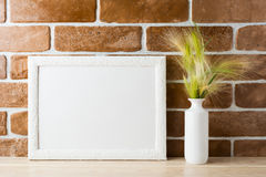Modelo branco do quadro da paisagem com grama decorativa no vaso denominado Imagem de Stock