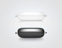 Modelo branco e preto vazio do projeto do saco de plástico da pasta, isolado, imagem de stock
