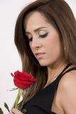 Modelo brasileño con una Rose Fotografía de archivo