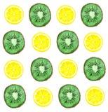 Modelo brillante de la acuarela del kiwi y del limón Fotos de archivo libres de regalías