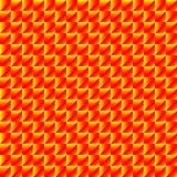 Modelo caótico de Rhombus amarillos y de pirámides rojas en un zigzag ilustración del vector