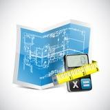 Modelo, calculadora e fita de medição Imagens de Stock Royalty Free
