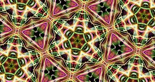 Modelo caleidoscópico en fondo oscuro en colores vibrantes almacen de metraje de vídeo