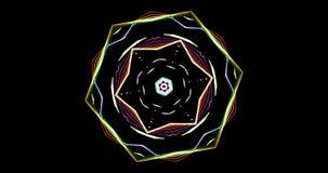 Modelo caleidoscópico en fondo oscuro en colores vibrantes almacen de video
