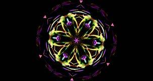 Modelo caleidoscópico en fondo oscuro en colores vibrantes Imágenes de archivo libres de regalías