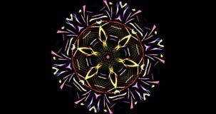 Modelo caleidoscópico en fondo oscuro en colores vibrantes Fotos de archivo libres de regalías