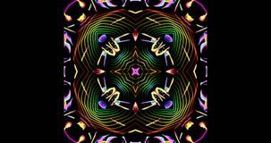 Modelo caleidoscópico en fondo oscuro en colores vibrantes Imagenes de archivo