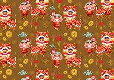 Modelo chino del vector de Lion Dancing del Año Nuevo stock de ilustración