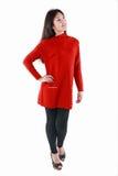 Modelo chinês no vestido vermelho Imagens de Stock