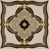 Modelo clásico beige de lujo del leopardo y del oro foto de archivo libre de regalías