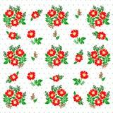 Modelo colorido con las flores rojas en un fondo blanco Fotografía de archivo libre de regalías