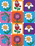 Modelo colorido de la colección de la diversión de las flores para los niños ilustración del vector
