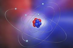 Modelo colorido del átomo Imagenes de archivo