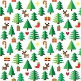 Modelo colorido del pixel con los elementos de la Navidad en bosque ilustración del vector