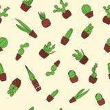Modelo colorido dibujado mano del fondo del cactus Fotos de archivo libres de regalías