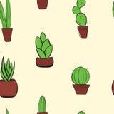 Modelo colorido dibujado mano del fondo del cactus Imagenes de archivo
