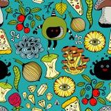 Modelo colorido inconsútil con los monstruos y la comida Imagen de archivo