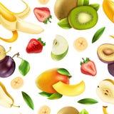 Modelo colorido inconsútil de las bayas de las frutas Imágenes de archivo libres de regalías