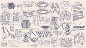 Modelo colorido rústico del extracto brillante precioso de los platos exhaustos de la mano: florero, placas, jarro, cuchara, plat stock de ilustración