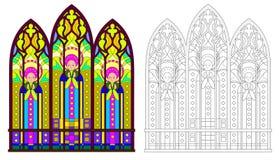Modelo colorido y blanco y negro del vitral gótico con los retratos de santos Hoja de trabajo para el libro de colorear ilustración del vector