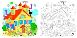 Modelo colorido y blanco y negro para colorear Casa del juguete del país de las hadas