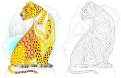 Modelo colorido y blanco y negro para colorear Ejemplo del leopardo del país de las hadas Hoja de trabajo para los niños y los ad Ilustración del Vector