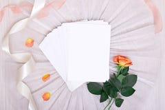 Modelo com cartão e as rosas cor-de-rosa no fundo branco cartão e flores cor-de-rosa cubra a pena, cubra-a, carimbe-a, perfume e  Fotografia de Stock Royalty Free