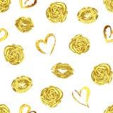 Modelo con besos, rosas y corazones de los labios del oro fotos de archivo